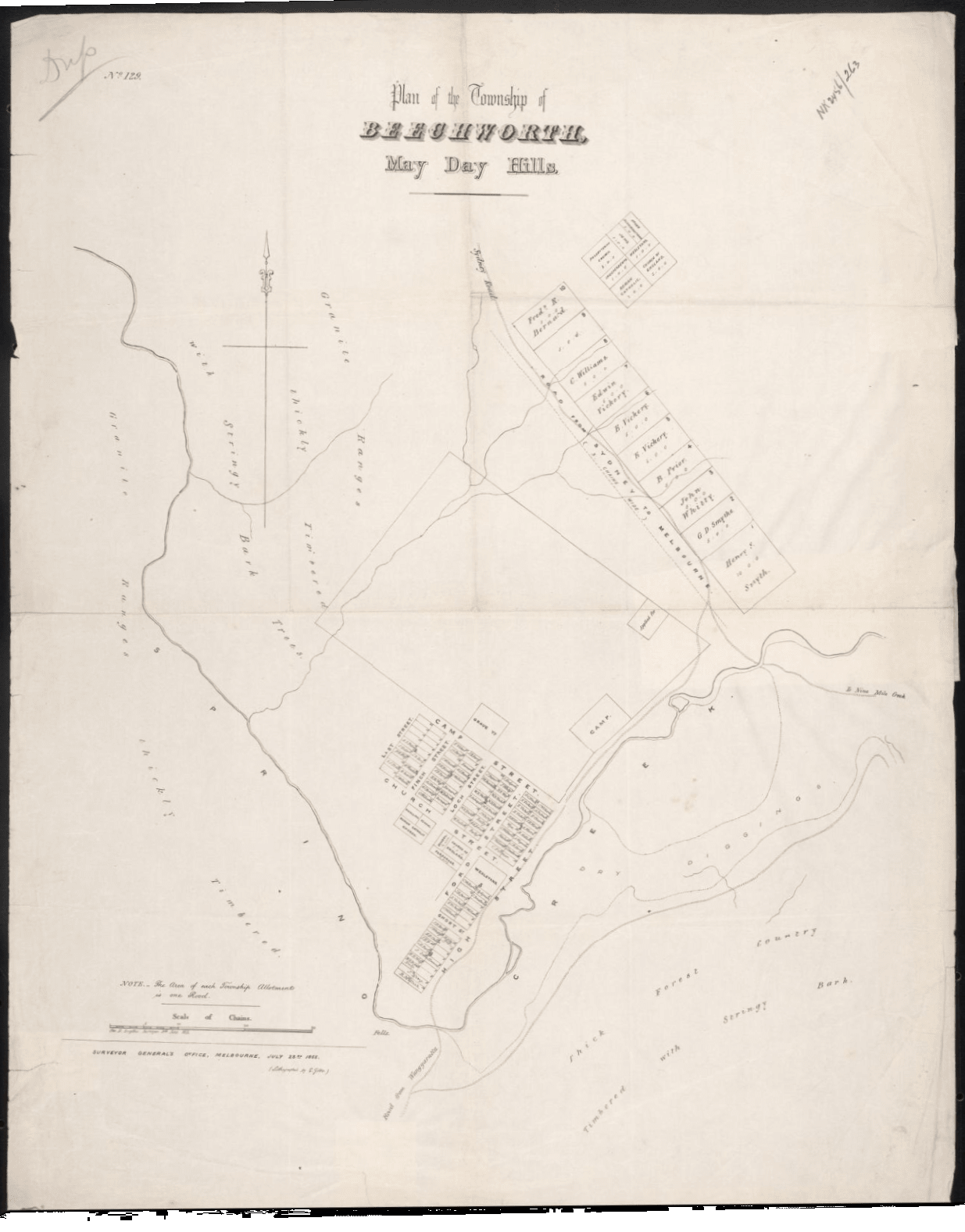 Golden Heritage Beechworth map 1853